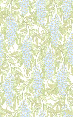 Seamless pattern, background with acacia. Soft spring floral background. Colored vector illustration. Illustration