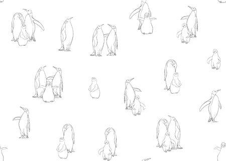 Emperor penguins seamless pattern. Outline design. Vector illustration. Foto de archivo - 133011355