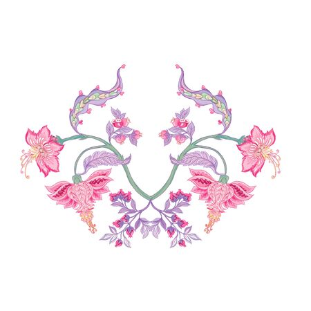 Pattern with stylized ornamental flowers in retro, vintage style. Jacobin embroidery. Colored vector illustration In pink, blue, ultraviolet colors Illustration