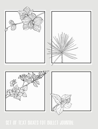 Set of text boxes for bullet journal or notes with tropical plans, flowers and birds. Stickers, elements for design. Outline hand drawing vector illustration. Illustration
