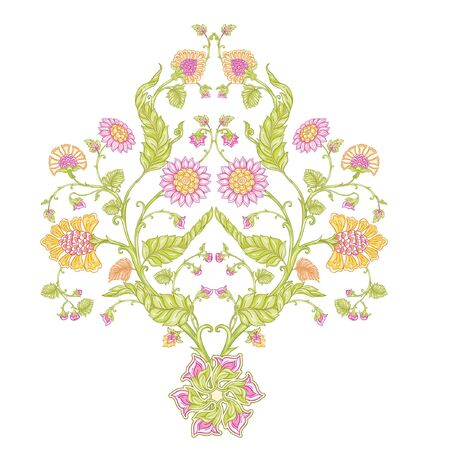 Indian ethnic pattern with stylized florwers. Colored vector illustration. Isolated on white background.