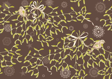 Seamless pattern, background. Mistletoe, Robin bird and ribbon. Graphic drawing, engraving style. Vector illustration 向量圖像