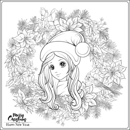 Christmas wreath of spruce, pine, poinsettia, winter birds and beautiful young girl in a hat. Coloring page for the adult coloring book. Outline hand drawing vector illustration.. Иллюстрация