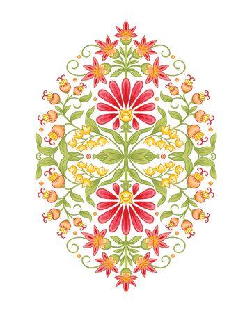 Motif moghol traditionnel, fleurs fantastiques dans un style rétro et vintage. Élément pour la conception. Illustration vectorielle. Isolé sur fond blanc.. Vecteurs