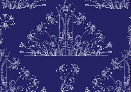 Narcissus. Imitation of traditional Japanese embroidery Sashiko. Spring flowers. Seamless pattern, background. Vector illustration. On navy blue background..