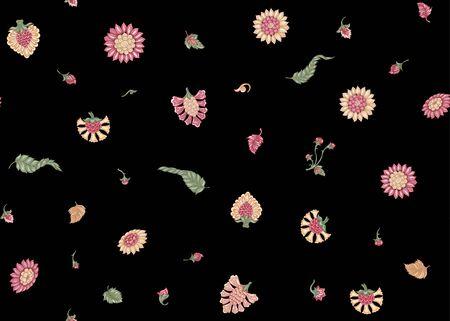 Naadloze Indiase etnische bloemmotief. Gekleurde vectorillustratie. Geïsoleerd op zwarte achtergrond.