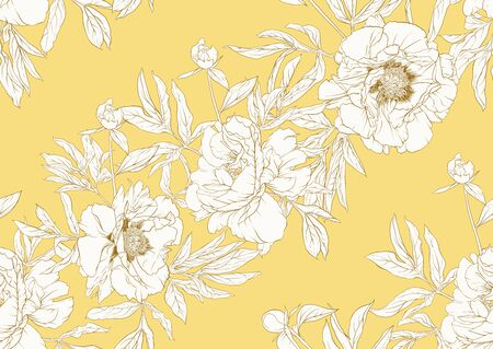 Peony flower. Seamless pattern, background. Black and white graphics. Vector illustration. In botanical style In soft mellow yellow color..