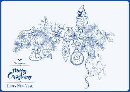 Merry Christmas and Happy New Year greeting card, banner with traditional winter plants and birds, vintage decoration, ribbon. Graphic drawing, engraving style. Vector illustration..