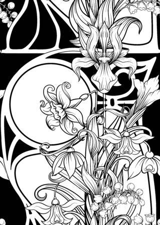 Wiosenne kwiaty wzór, tło. Ilustracja wektorowa kolorowe. W stylu secesyjnym, vintage, starym, retro. Na herbacie zielonym i różowym tle. Ilustracje wektorowe