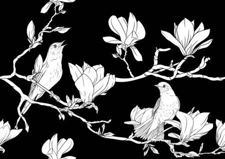 Magnolia Tree Branch mit Blumen und Nachtigall Nahtloses Muster, Hintergrund. Schwarz-Weiß-Grafiken. Vektor-Illustration..