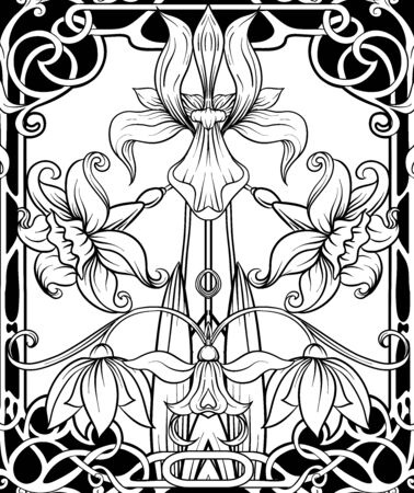 Frühlingsblumen nahtloses Muster, Hintergrund. Farbige Vektorillustration. Im Jugendstil, Vintage, Alt, Retro-Stil. Auf teegrünem und rosa Hintergrund.