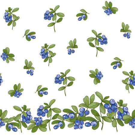 Blueberry. Seamless pattern, background. Graphic drawing engraving style vector illustration