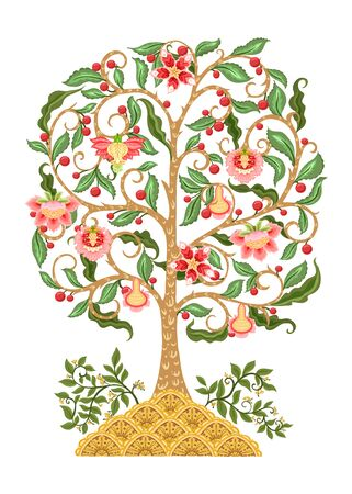 Tree of life motif. Jacobean embroidery. Colored vector illustration In soft orange and green colors. Isolated on white background.