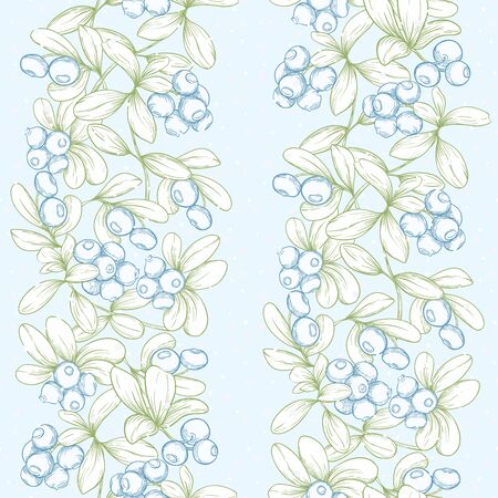 Blueberry. Seamless pattern, background. Graphic drawing engraving style Vector illustration. Ilustracja