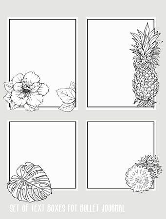 Set of text boxes for bullet journal or notes with tropical plans, flowers and birds. Stickers, elements for design. Outline hand drawing vector illustration. Stock Vector - 132899648