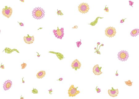 Seamless Indian floral ethnic pattern . Colored vector illustration. Isolated on white background. Çizim