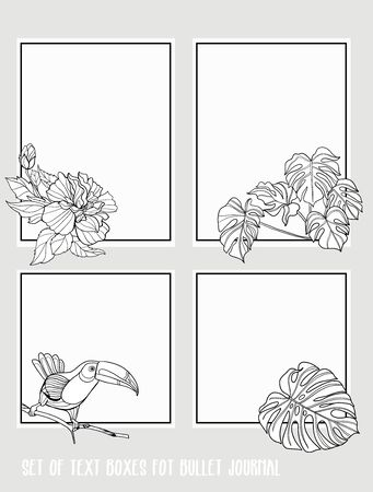 Set of text boxes for bullet journal or notes with tropical plans, flowers and birds. Stickers, elements for design. Outline hand drawing vector illustration. Stock Vector - 132901290