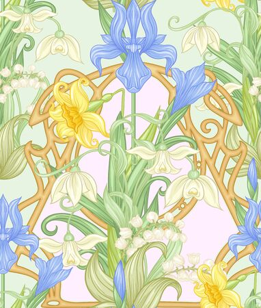 Spring flowers seamless pattern, background. Colored vector illustration. In art nouveau style, vintage, old, retro style. On tea green and pink background. Illustration