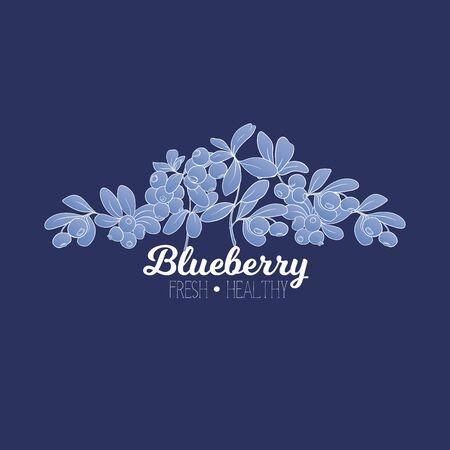 Blueberry. Element for design. Good for product label. Outline hand drawing vector illustration..