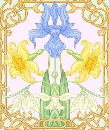 Wiosenne kwiaty wzór, tło. Ilustracja wektorowa kolorowe. W stylu secesyjnym, vintage, starym, retro. Na herbacie zielonym i różowym tle.