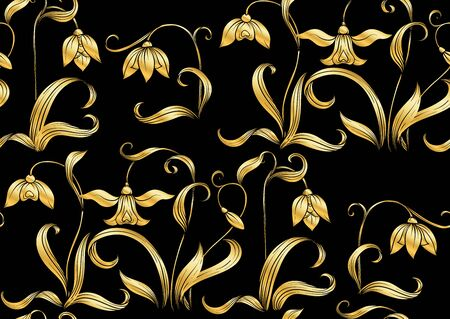 Galanthus, snowdrop, nivalis. Seamless pattern, background. Colored line art vector illustration. In art nouveau style, vintage, old, retro style. on soft grey background Illustration