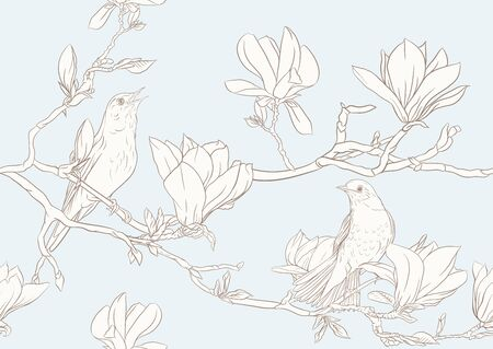 Magnolia tree branch with flowers and nightingale Seamless pattern, background. Outline hand drawing vector illustration. In vintage blue and beige colors. Ilustrace
