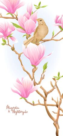 Magnolia tree branch with flowers and nightingale Template for wedding invitation, greeting card, banner, gift voucher, label. Colored vector illustration. Isolated on white background..