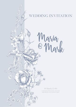 Wedding invitation with roses and spring flowers. Graphic drawing, engraving style. Vector illustration. In vintage blue color. Illusztráció