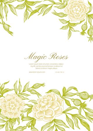 Roses Template for wedding invitation, greeting card, banner, gift voucher, label. Graphic drawing, engraving style. Vector illustration..
