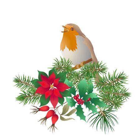 Uccello di Robin - un simbolo del Natale. Ghirlanda natalizia di piante invernali. Elemento per il design. Illustrazione vettoriale colorata. Isolato su sfondo bianco..