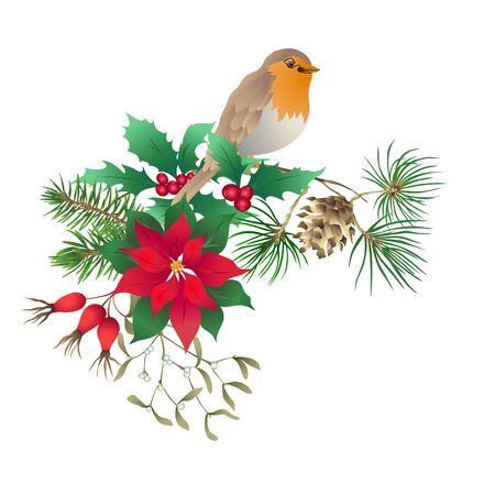 Oiseau Robin - un symbole de Noël. Couronne de Noël de plantes d'hiver. Élément pour la conception. Illustration vectorielle colorée. Isolé sur fond blanc..