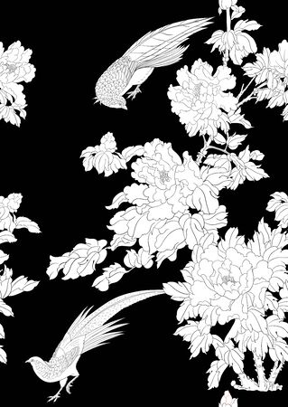 Peony tree branch with flowers with pheasants in the style of Chinese painting on silk. Seamless pattern, background. Vector illustration. Outline hand drawing. On sky blue background..