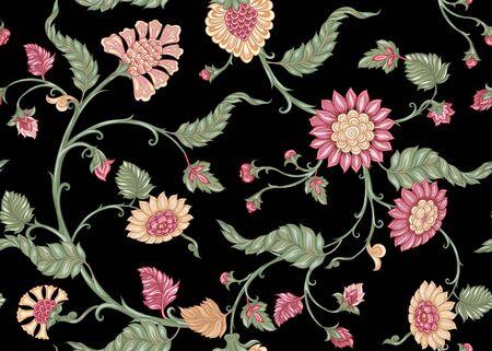 Motif ethnique floral indien sans couture. Illustration vectorielle colorée. Isolé sur fond noir.
