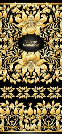 Floral pattern, background In art nouveau style, vintage, old, retro style. In gold and black. Good for the cover of a notebook, tablet, phone, product label. In gold and black.Vector illustration in gold colors. .  イラスト・ベクター素材