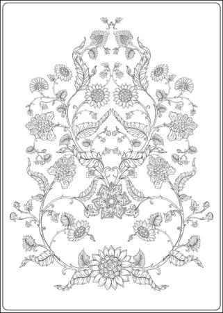 Indian ethnic pattern with stylized florwers. Outline hand drawing vector illustration. Coloring page for the adult coloring book Ilustrace