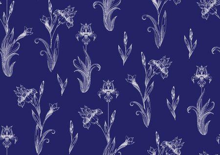 Iris flower. Imitation of traditional Japanese embroidery Sashiko. Spring flowers. Seamless pattern, background. Vector illustration. On navy blue background..  イラスト・ベクター素材
