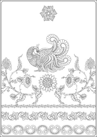 Indian ethnic pattern with stylized florwers and bird. Outline hand drawing vector illustration. Coloring page for the adult coloring book Illustration