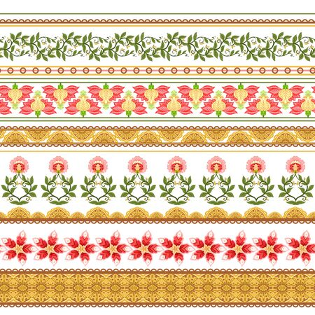 Seamless pattern with stylized ornamental flowers In soft orange and green colors. Jacobean embroidery. Colored vector illustration In soft orange and green colors. Isolated on white background. Illustration