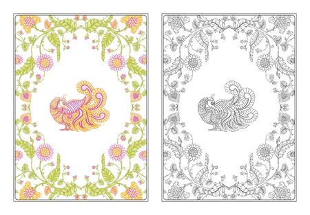 Indian ethnic pattern with stylized flowers and bird. Outline hand drawing vector illustration. Coloring page for the adult coloring book with colored sample