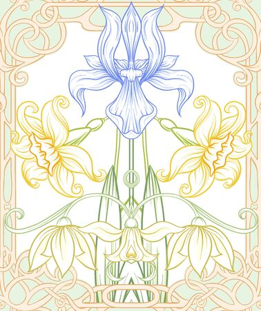 Spring flowers seamless pattern, background. Colored vector illustration. In art nouveau style, vintage, old, retro style. On tea green and pink background. Stock Illustratie