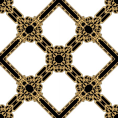 Decorative motif, frames, borders. Seamless pattern, background. Colored vector illustration. In art nouveau style, vintage, old, retro style. In vintage beige colors. Isolated on black background Ilustración de vector