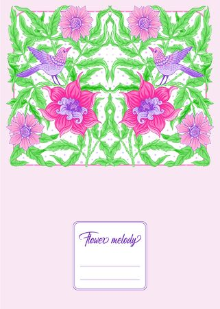 Floral pattern, background with birds In art nouveau style, vintage, old, retro style. In gold and black. Good for the cover of a notebook, tablet, phone, product label. Vector illustration...  イラスト・ベクター素材