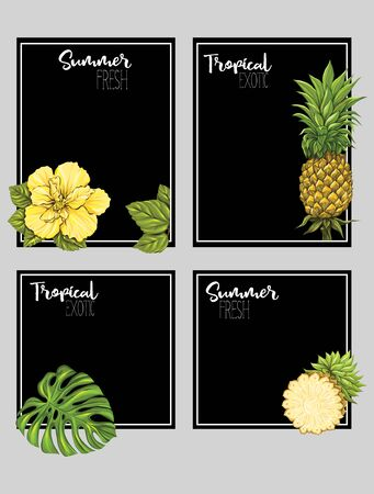 Set of text boxes for bullet journal or notes with tropical plans, flowers and birds. Stickers, elements for design on black background. Vector illustration.. Stock Vector - 133466583