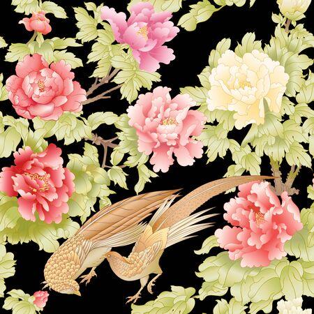 Rama de un árbol de peonía con flores con faisanes al estilo de la pintura china sobre seda Patrón transparente, fondo. Ilustración de vector de color. Aislado sobre fondo negro. Ilustración de vector