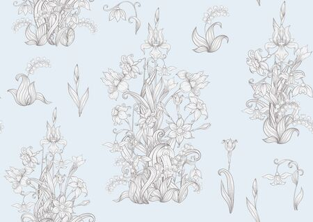 Spring flowers. Narcissus, Iris flower, lily of the valley, may-lily, Seamless pattern, background. In vintage beige colors.. Vector illustration. In art nouveau style, vintage, old, retro style