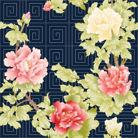 Peony tree branch with flowers in the style of Chinese painting on silk with Imitation of traditional Japanese embroidery Sashiko. Seamless pattern, background. Colored vector illustration.  イラスト・ベクター素材