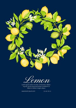 Lemon tree branch with lemons, flowers and leaves. Template for wedding invitation, greeting card, banner, gift voucher, label. Colored vector illustration.. Ilustracja