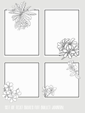 Set of text boxes for bullet journal or notes with tropical plans, flowers and birds. Stickers, elements for design. Outline hand drawing vector illustration.