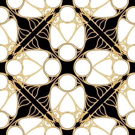 Motivo decorativo, marcos, cenefas. Patrón sin costuras, fondo. Ilustración de vector de color. En estilo art nouveau, estilo vintage, antiguo, retro. En colores beige vintage. Aislado sobre fondo negro