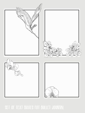 Set of text boxes for bullet journal or notes with tropical plans, flowers and birds. Stickers, elements for design. Outline hand drawing vector illustration. Stock Vector - 132993307